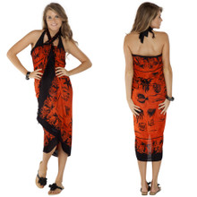 Aquatic Life Sarong in Orange