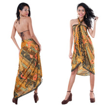 Batik Sarong With Traditional Motif in Brown / Green