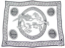 "Celtic Sarong, ""Unicorn"" Black / White"
