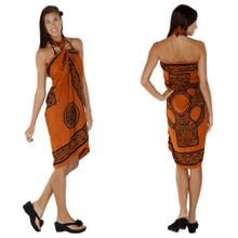 "Celtic Sarong, ""Celtic Cross 2"" Burnt Orange"