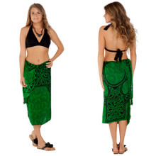 "Celtic Sarong, ""Celtic Cross 1"" Emerald Green"