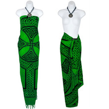 "Celtic Sarong, ""Celtic Cross And Circle"" Green"