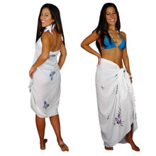 "Sequined / Embroidered / Butterfly Sarong ""White"" - BTRFLY-5"