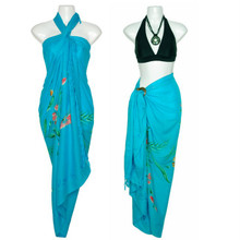 Sequined / Embroidered with Butterflies Sarong in Turquoise
