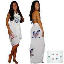 Sequined / Embroidered Birds Sarong in White
