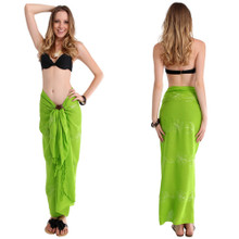 Embroidered Sarong in Lime Green