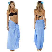 Embroidered Sarong in Light Blue