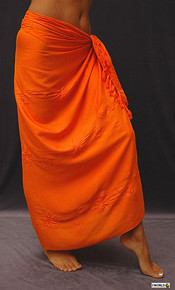 Embroidered Sarong in Orange