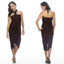 "Sequined / Embroidered / Beaded Sarong ""Brown"""