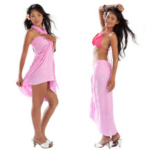 Sequined / Embroidered Sarong in Pink