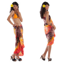 Embroidered Tie Dye Sarong in Orange/Brown