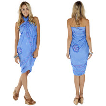 Sarong w/ Triple Embroidery in Light Blue