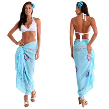 Sarong w/ Triple Embroidery in Light Turquoise