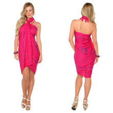 Sarong w/ Triple Embroidery in Pink