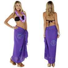 Sarong w/ Triple Embroidery in Purple