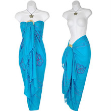 Sarong w/ Triple Embroidery in Turquoise