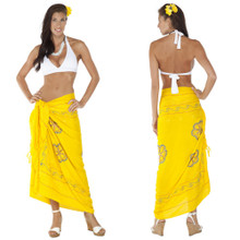 Sarong w/ Triple Embroidery in Yellow