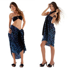 Blue and Purple Floral Sarong in Black