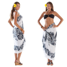 3 Row Floral Sarong in Black/White
