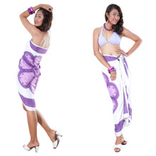 Lotus Floral Sarong in Purple/White
