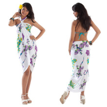 Gecko and Floral Sarong in Turquoise