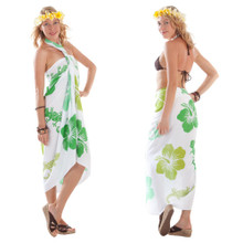 Small Gecko and Floral Sarong in Green