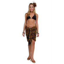 "Abstract Tribal Half Sarong ""Goldish Brown"""