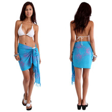 Turquoise / Purple Butterfly Half Sarong (Batik)
