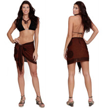 "Celtic Half Sarong, ""Interlace Knotwork"" Deep Brown"