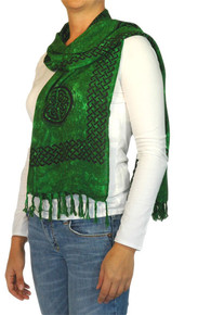 "Celtic Half Sarong, ""Interlace Knotwork"" Emerald Green"