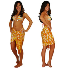"Elephant Half Sarong ""Orange / Yellow"""