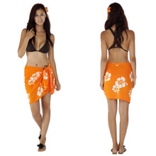 "Hibiscus Half Sarong ""Orange / White"""