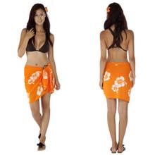 "Hibiscus Half Sarong ""Orange / White"""