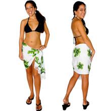 "Hibiscus Half Sarong ""Green / White"""
