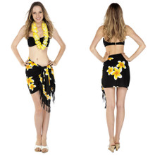 "Plumeria Mini Sarong ""Yellow / Black"""