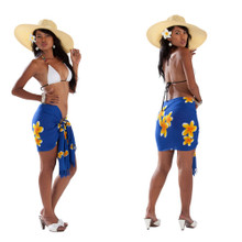 "Plumeria Mini Sarong ""Blue / Yellow"""