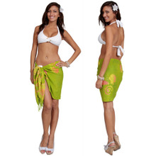 Green W/Multi-color Seashell Half Sarong