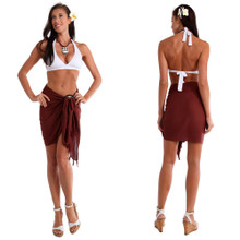 Solid Colored Half Sarong in Brown