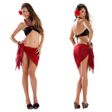 Solid Colored Half Sarong in Burgundy