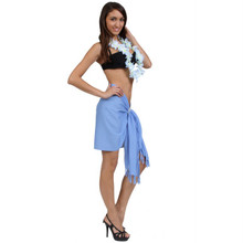 Solid Colored Half Sarong in Light Blue