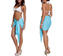 Solid Colored Half Sarong in Light Turquoise