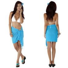 Solid Colored Half Sarong in Turquoise