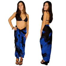 Hibiscus Sarong in Blue / Black