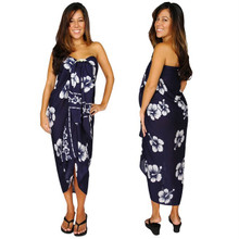 Hibiscus Sarong in Navy Blue / White