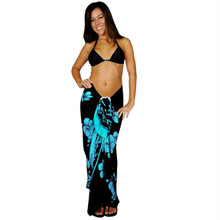 Hibiscus Sarong in Aqua Blue / Black