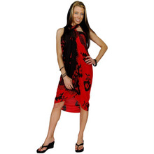 "Hibiscus Sarong ""Red / Black"" - HI-15"