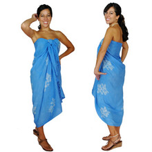 Hibiscus Sarong in Light Blue