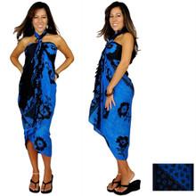 """Hibiscus Sarong """"Blue / Black"""" - HI-21"""