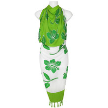 Hibiscus Sarong in Lime Green / White