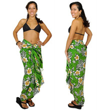 Hibiscus Sarong in Lime Green / Green
